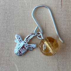 Bee charm and citrine sterling silver earrings
