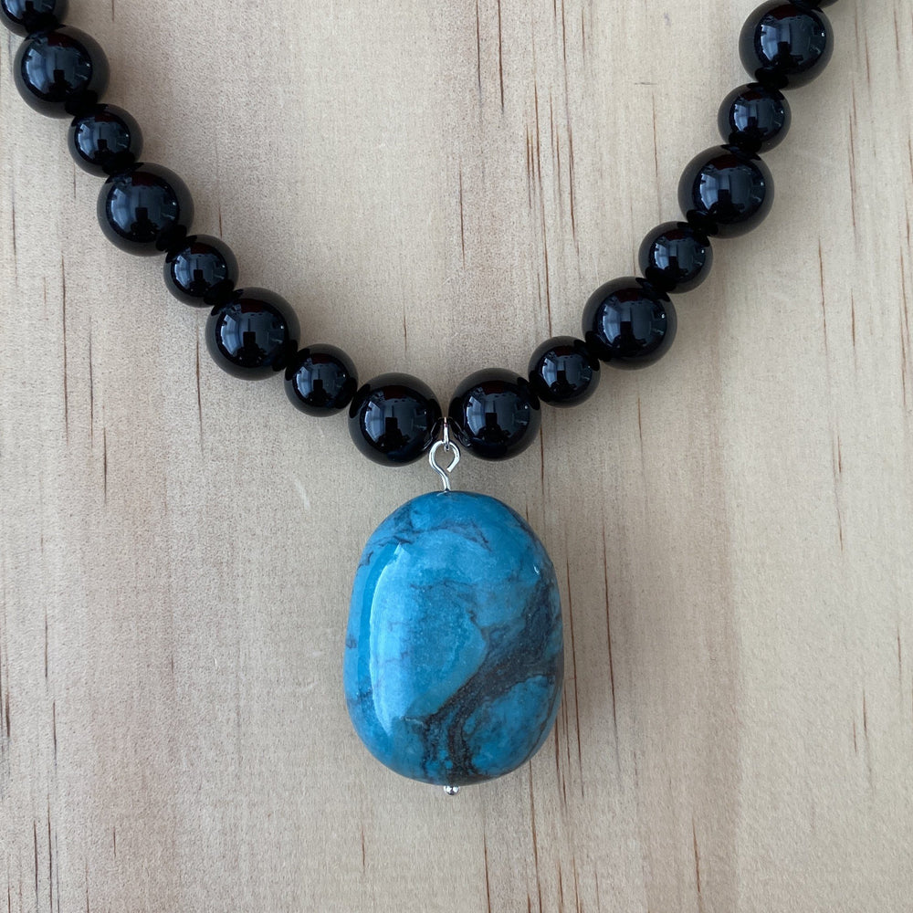 Recycled Turquoise & Black Onyx Necklace