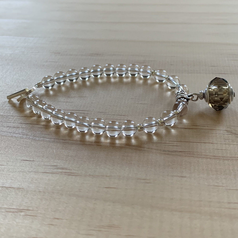 Recycled Smokey Quartz Glass Bead & Clear Quartz Bracelet - Empaness