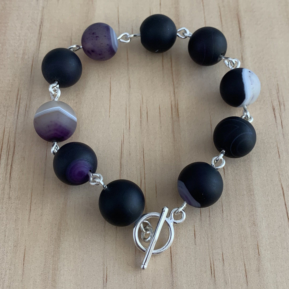 Frosted Madagascar Agate Sterling Silver Bracelet - Empaness