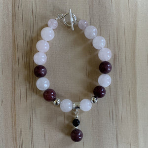 buy Recycled Rhodolite, Onyx & Rose Quartz Bracelet online