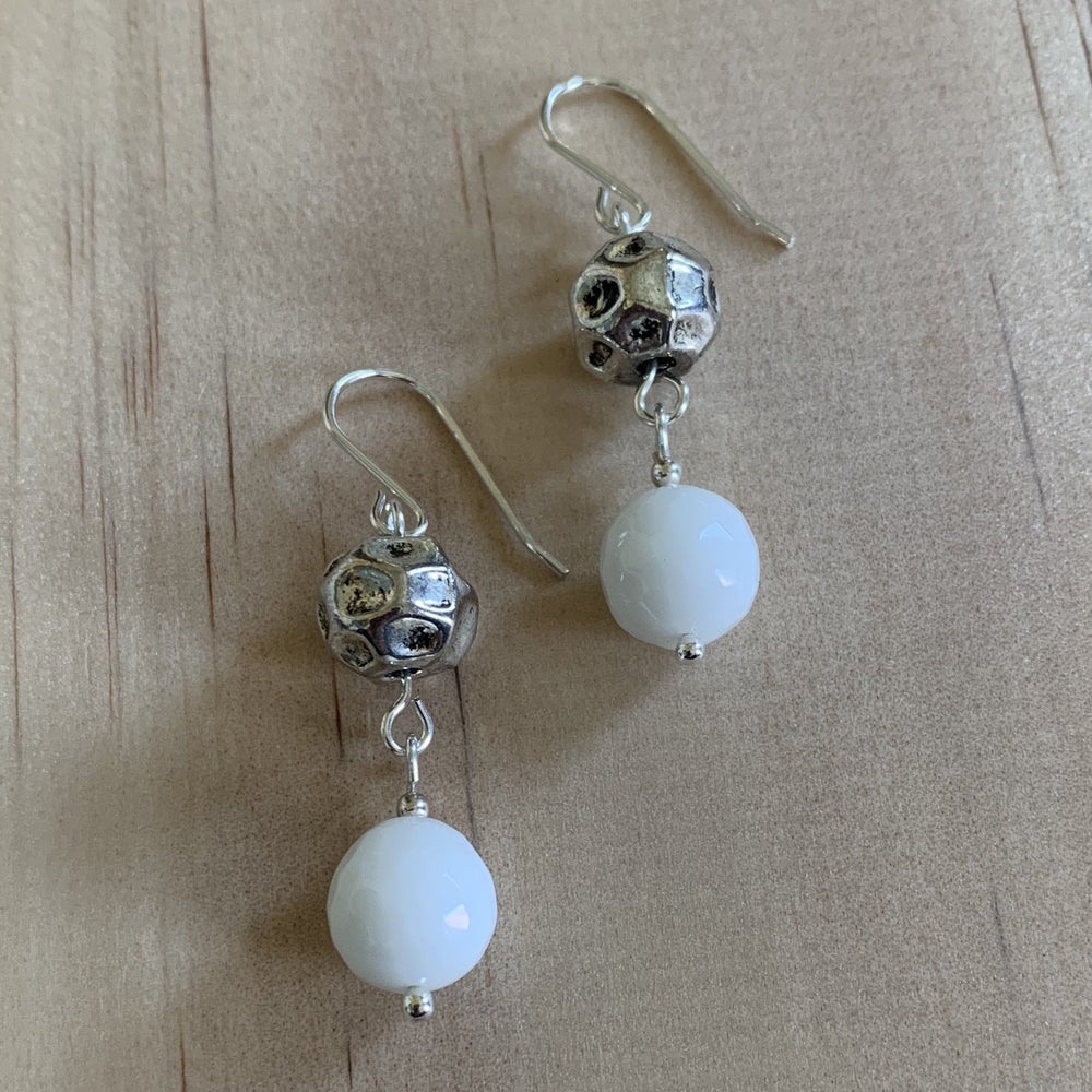 White Onyx & Recyled Ball Earrings - Empaness
