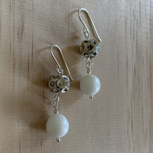 Load image into Gallery viewer, White Onyx & Recyled Ball Earrings