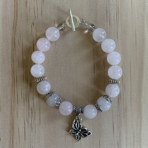 Rose Quartz & Recycled Butterfly Charm Bracelet