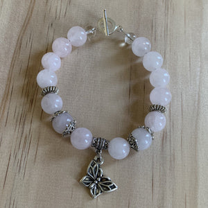 Rose Quartz & Recycled Butterfly Charm Bracelet - Empaness