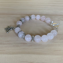 Load image into Gallery viewer, Rose Quartz & Recycled Butterfly Charm Bracelet - Empaness