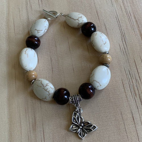 Recycled Howlite,Wooden Beads & Butterfly Charm Bracelet