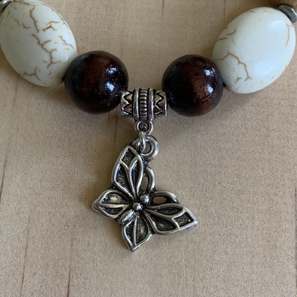 Recycled Howlite,Wooden Beads & Butterfly Charm Bracelet - Empaness
