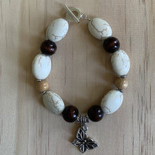 Load image into Gallery viewer, Recycled Howlite,Wooden Beads & Butterfly Charm Bracelet