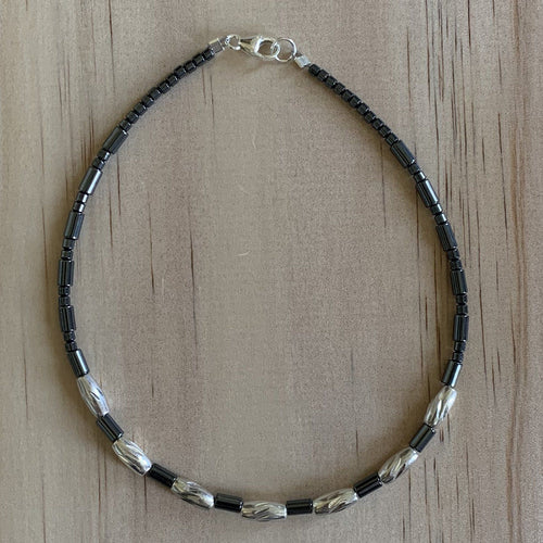 Recycled Sterling Silver Bead & Hematite Anklet