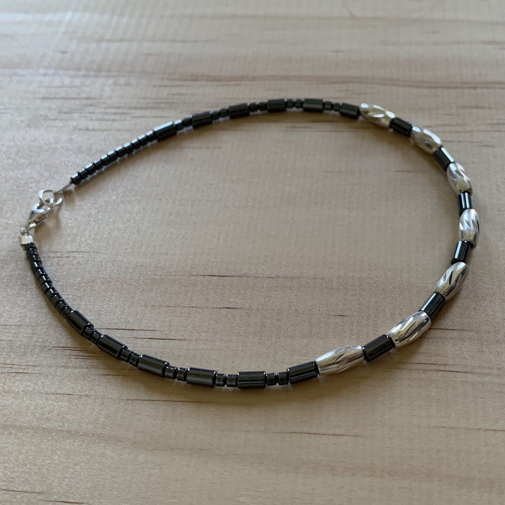 Recycled Sterling Silver Bead & Hematite Anklet - Empaness