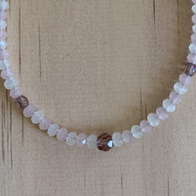 Load image into Gallery viewer, Rose Quartz, White Quartz & Crystal Anklet