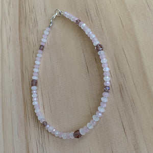 Rose Quartz, White Quartz & Crystal Anklet