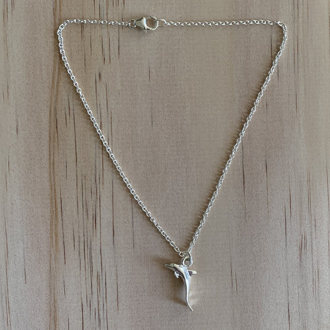 Sterling Silver Dolphin Charm Anklet