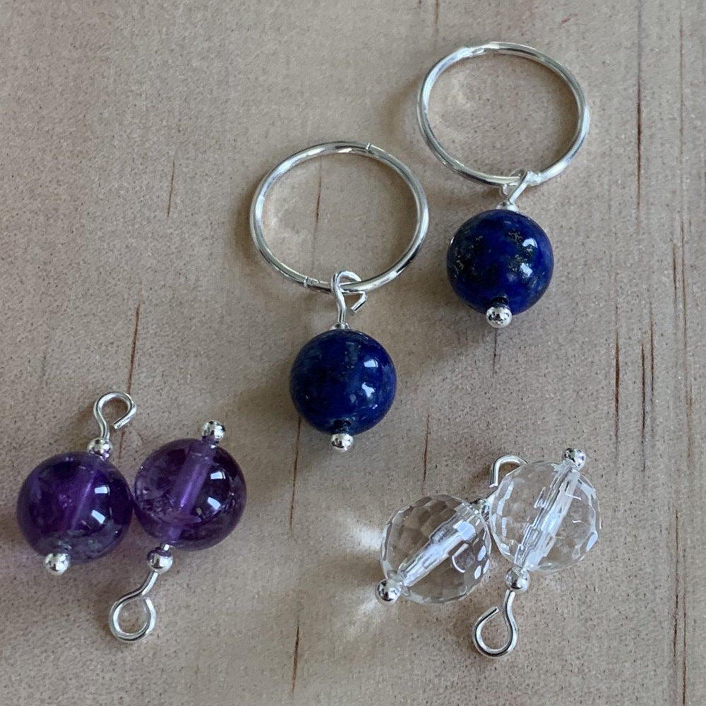 Silver Sleepers & Amethyst, Lapis Lazuli, Rock Crystal Earrings - Empaness