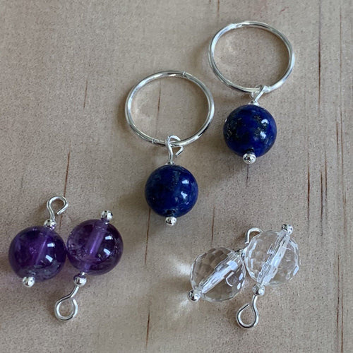 buy Silver Sleepers & Amethyst, Lapis Lazuli, Rock Crystal Earrings online