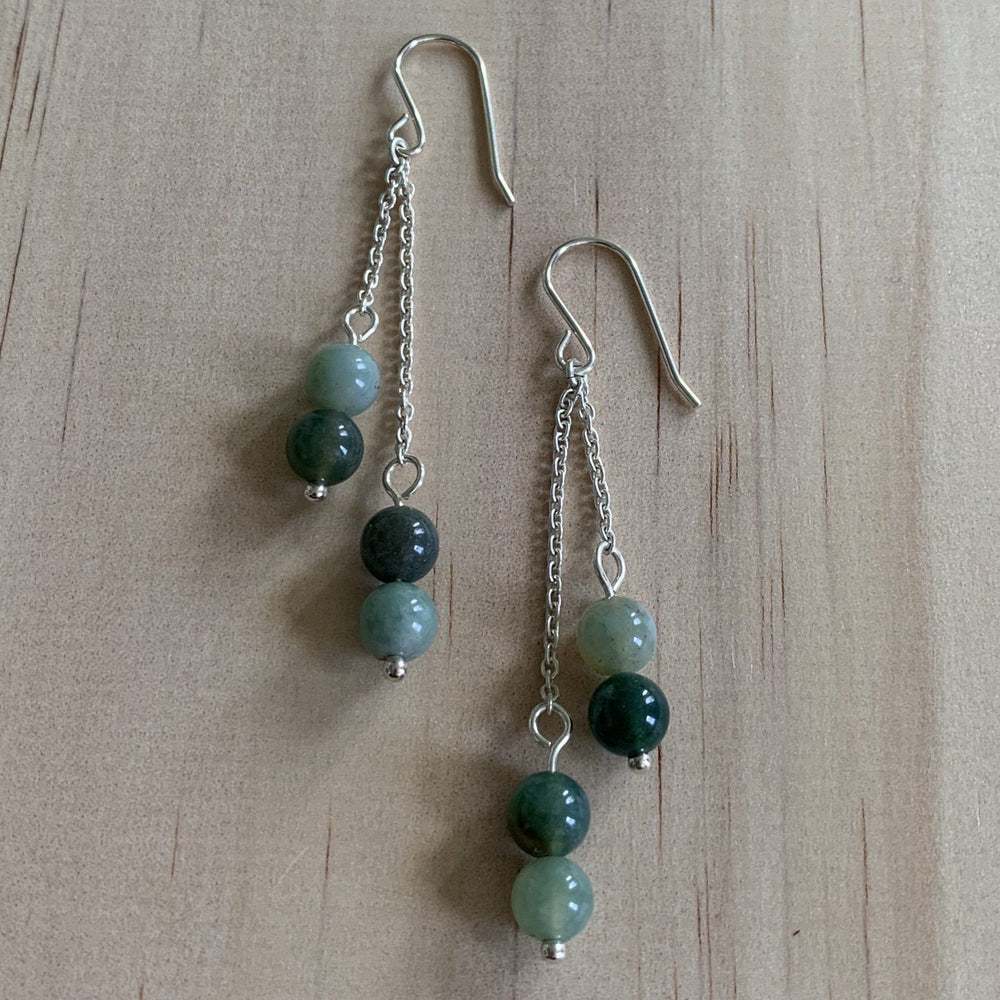 Agate & Chain Sterling Silver Earrings - Empaness