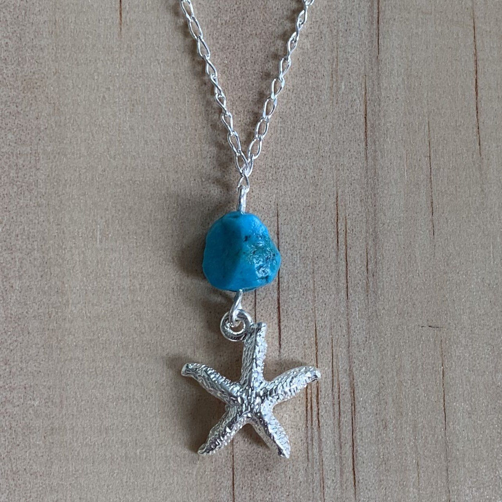 Sterling Silver Starfish Charm & Turquoise Anklet - Empaness