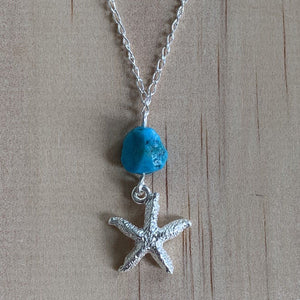 Sterling Silver Starfish Charm & Turquoise Anklet