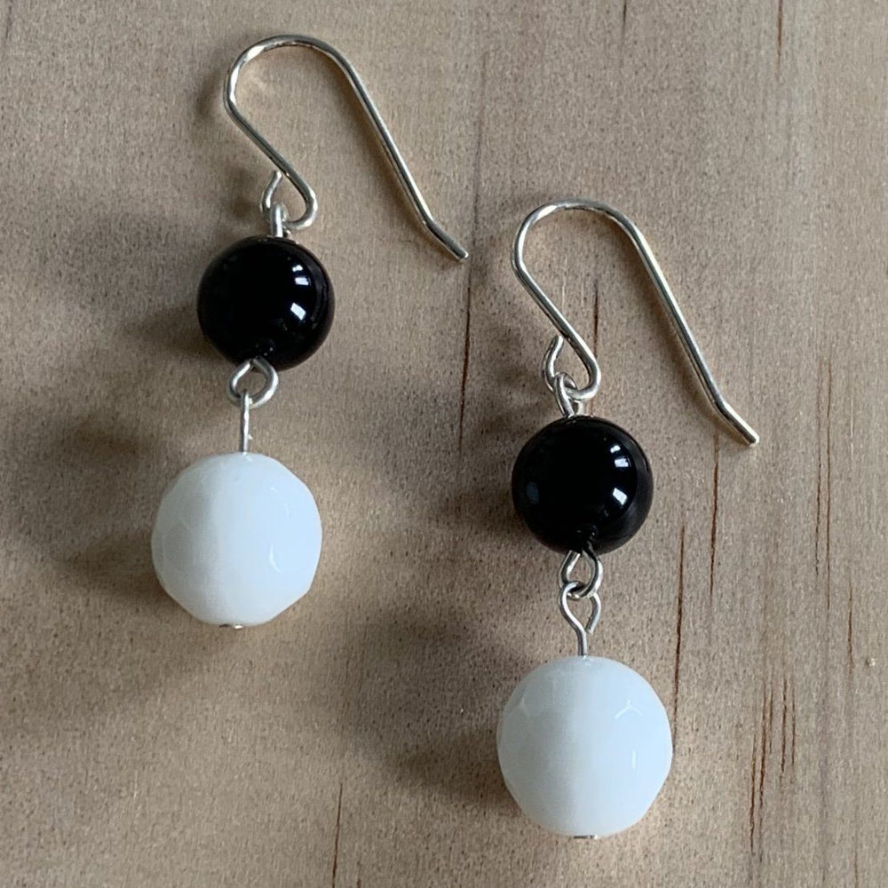 White & Black Onyx Sterling Silver Earrings - Empaness