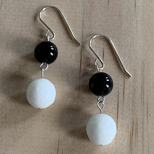 White & Black Onyx Sterling Silver Earrings