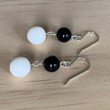 Load image into Gallery viewer, White & Black Onyx Sterling Silver Earrings