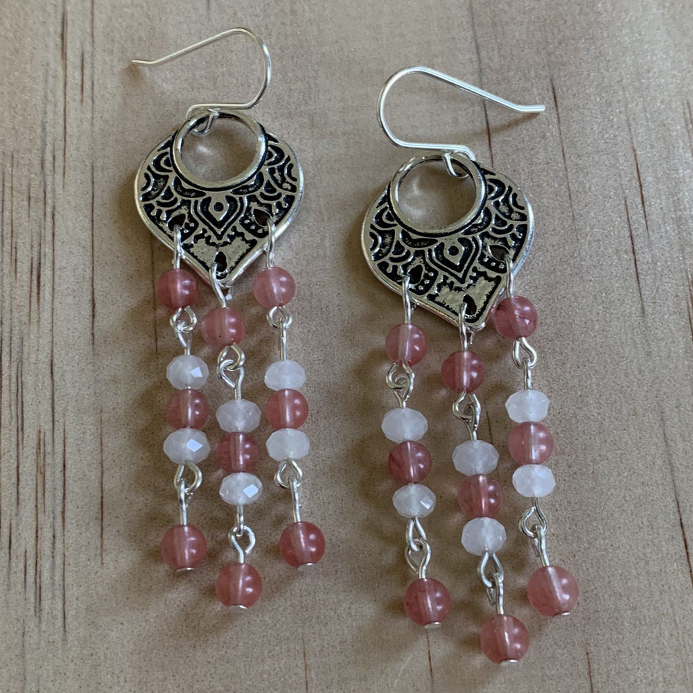 Filigree Pink Cherry & White Quartz Earrings - Empaness