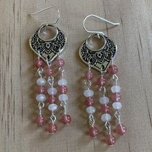 Load image into Gallery viewer, Filigree Pink Cherry & White Quartz Earrings