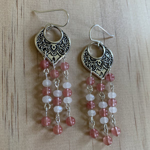 Filigree Pink Cherry & White Quartz Earrings