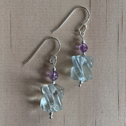Fluorite & Amethyst Sterling Silver Earrings