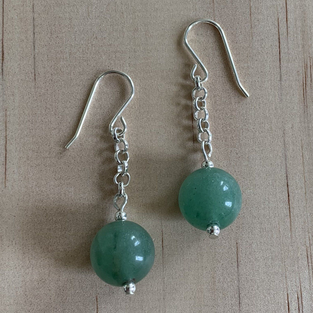 Green Aventurine Sterling Silver Earrings - Empaness
