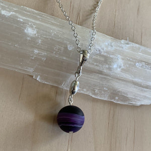Handmade Sterling Silver Frosted Madagascar Agate Necklace