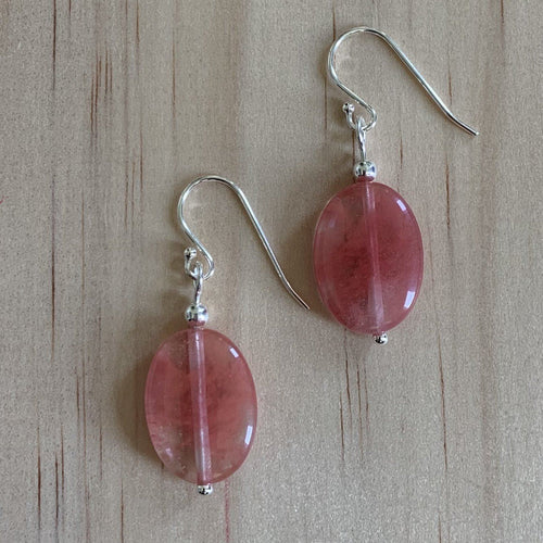 Sterling Silver Cherry Quartz Earrings