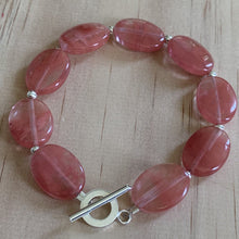 buy Oval Cherry Quartz Sterling Silver Bracelet online