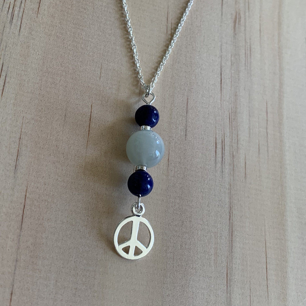 Moonstone & Lapis Lazuli Sterling Silver Necklace - Empaness