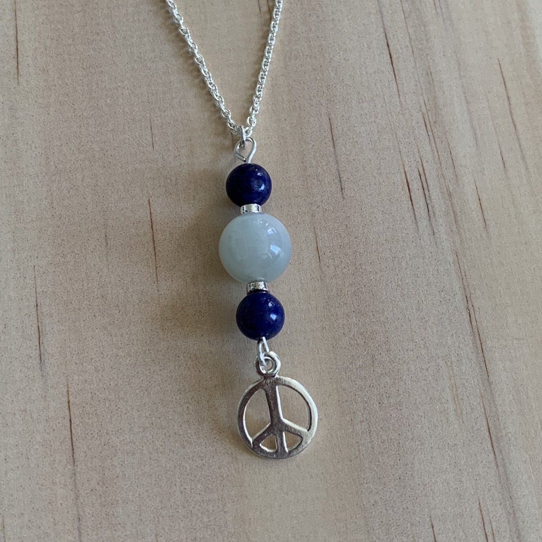 Moonstone & Lapis Lazuli Sterling Silver Necklace