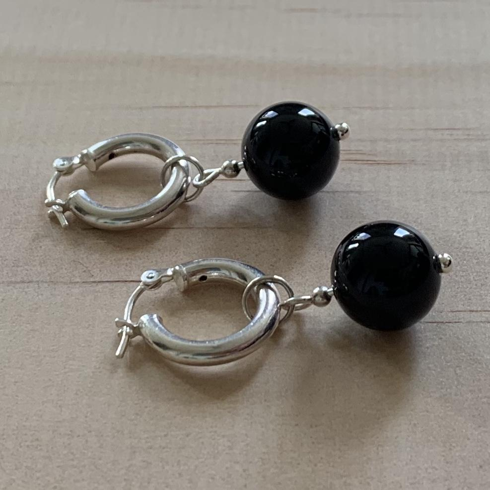 Recycled Sterling Silver Hoops & Black Onyx Earrings - Empaness