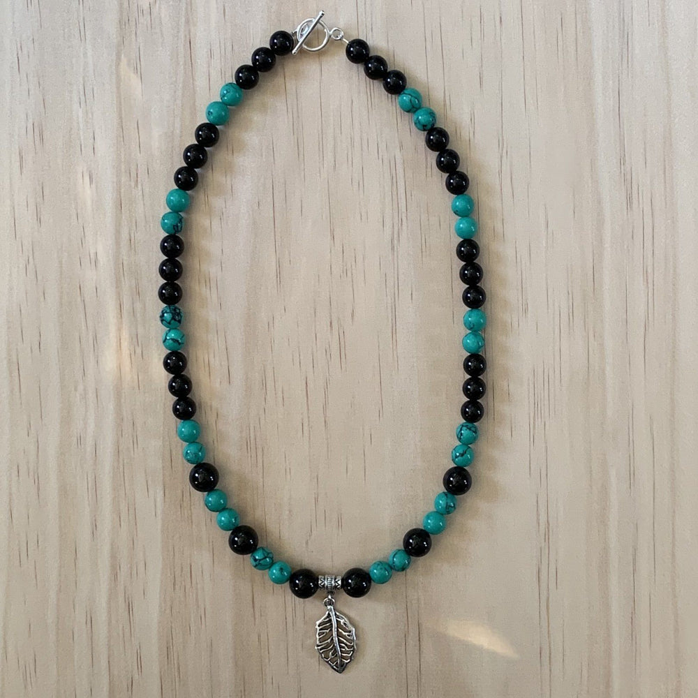 Recycled Metal Leaf Charm, Onyx & Howlite Necklace - Empaness