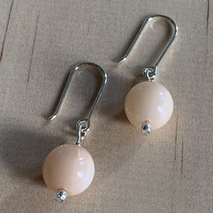 Recycled Pink Opal Sterling Silver Earrings