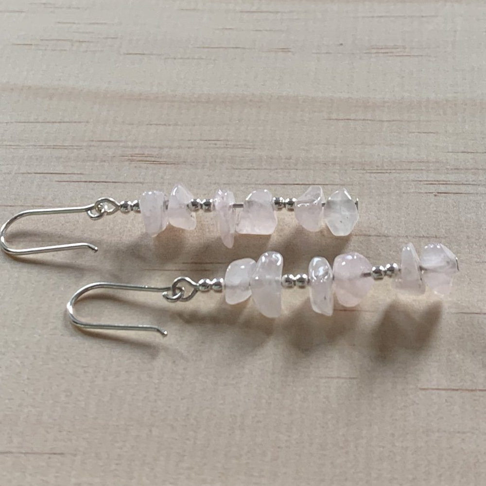 Recycled Rose Quartz Sterling Silver Earrings - Empaness