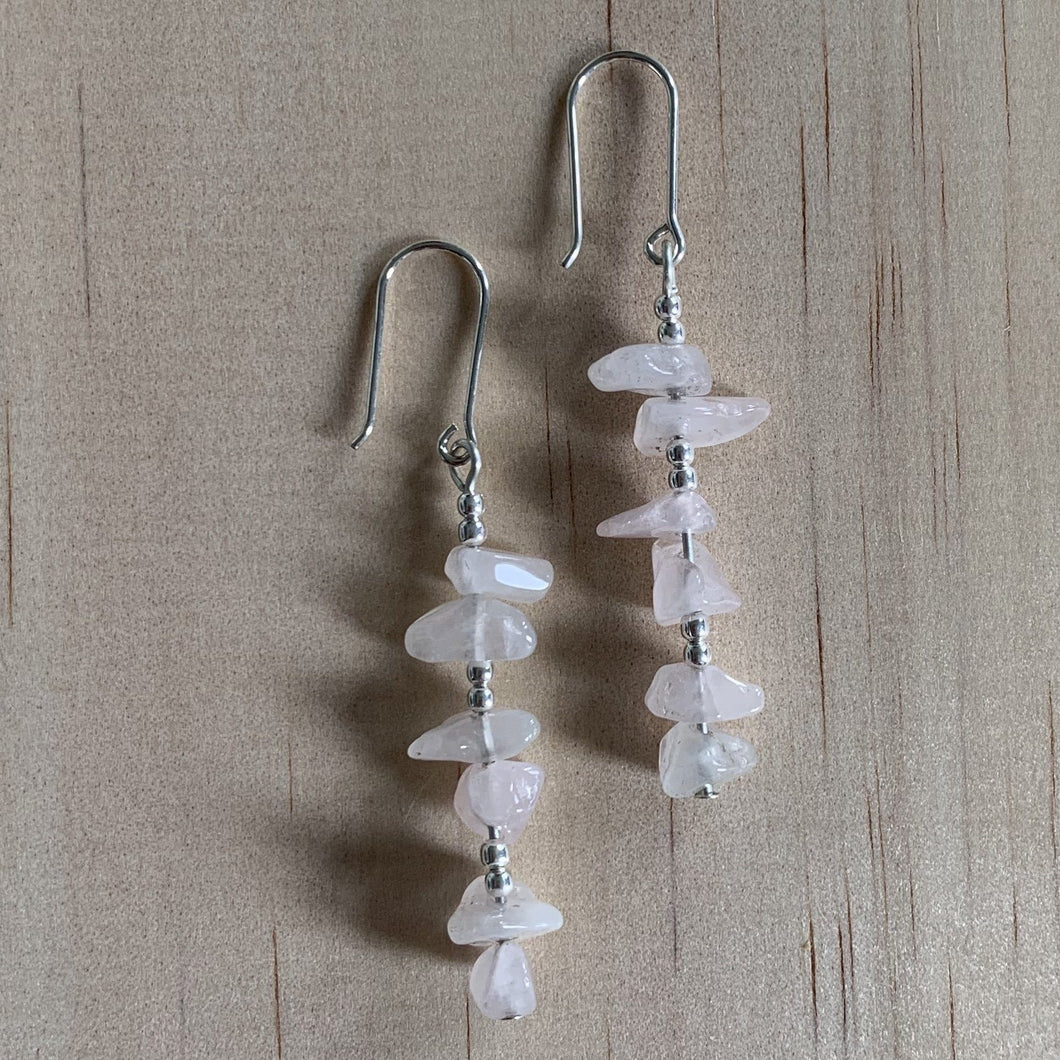 Recycled Rose Quartz Sterling Silver Earrings