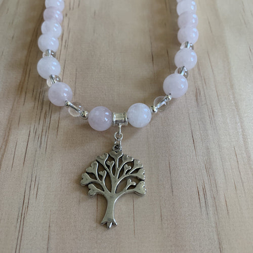 Recycled Tree Charm, Rose & Clear Quartz Necklace