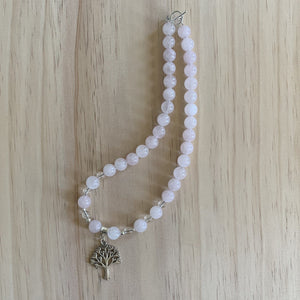 buy Recycled Tree Charm, Rose & Clear Quartz Necklace online