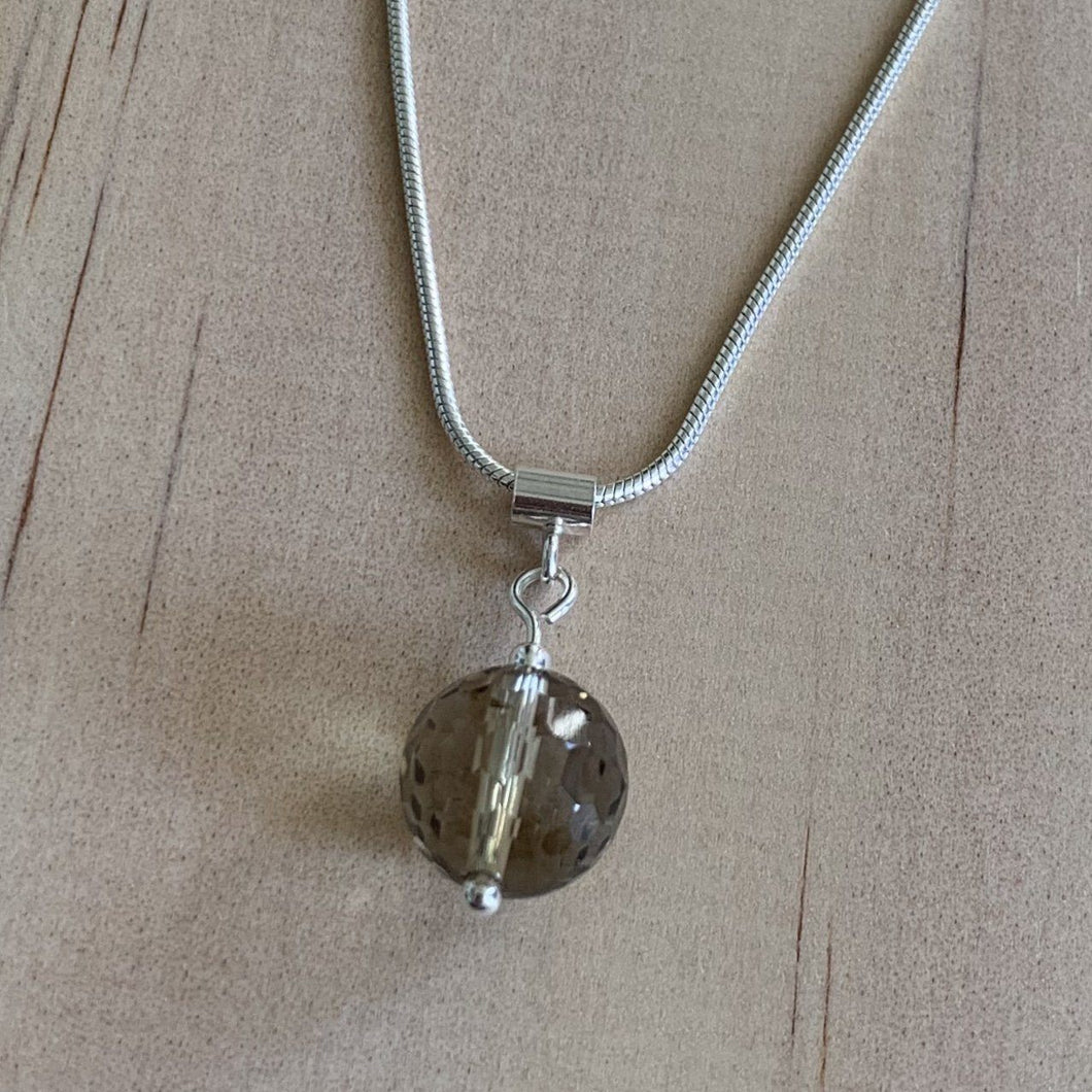 Smokey Quartz Sterling Silver Necklace