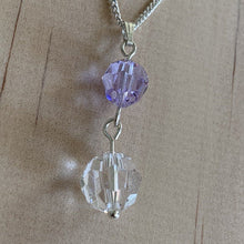 Load image into Gallery viewer, Clear & Purple Swarovski Crystal Sterling Silver Necklace