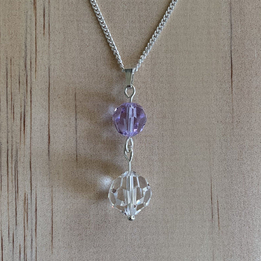 Clear & Purple Swarovski Crystal Sterling Silver Necklace - Empaness
