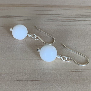 White Onyx Silver Earrings