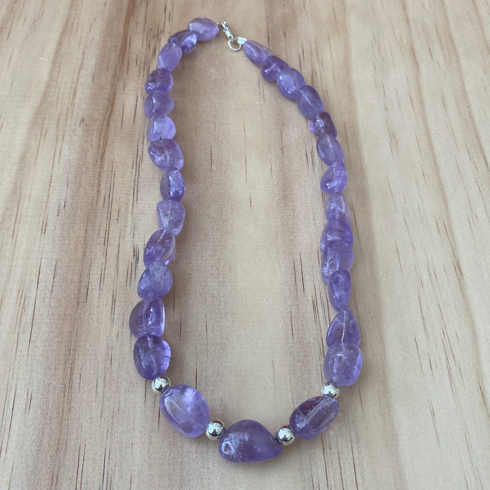 Amethyst & Sterling Silver Ball Bead Necklace