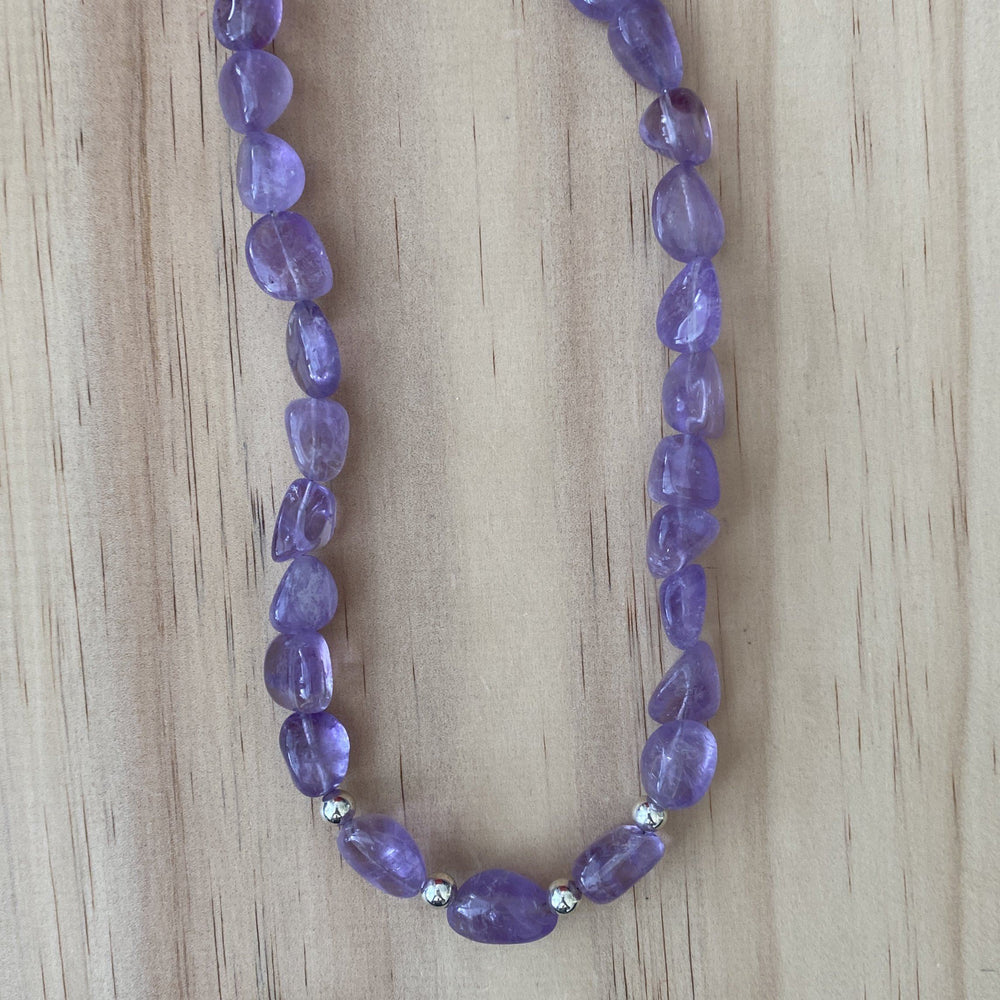 Amethyst & Sterling Silver Ball Bead Necklace - Empaness