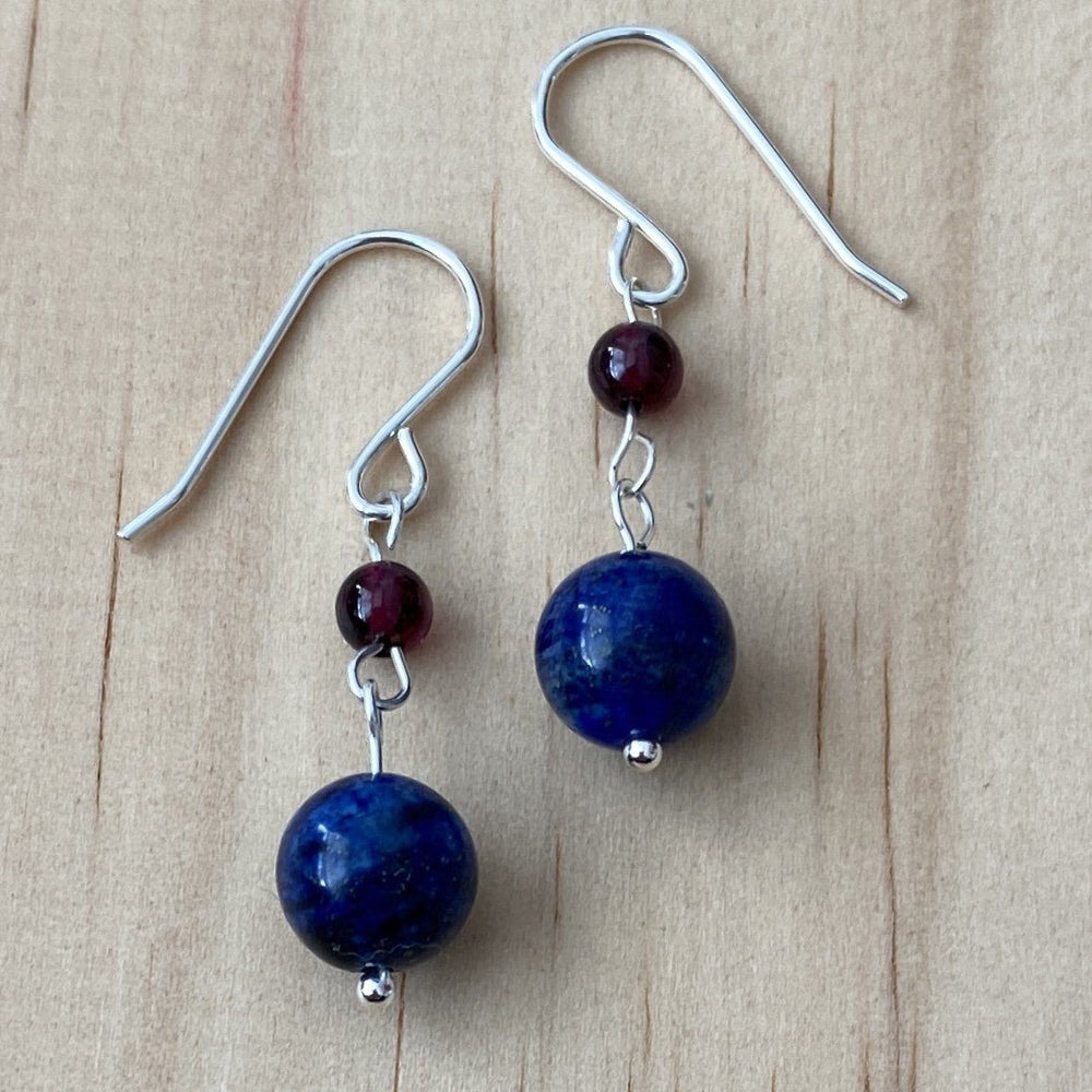 Lapis Lazuli & Red Garnet Earrings